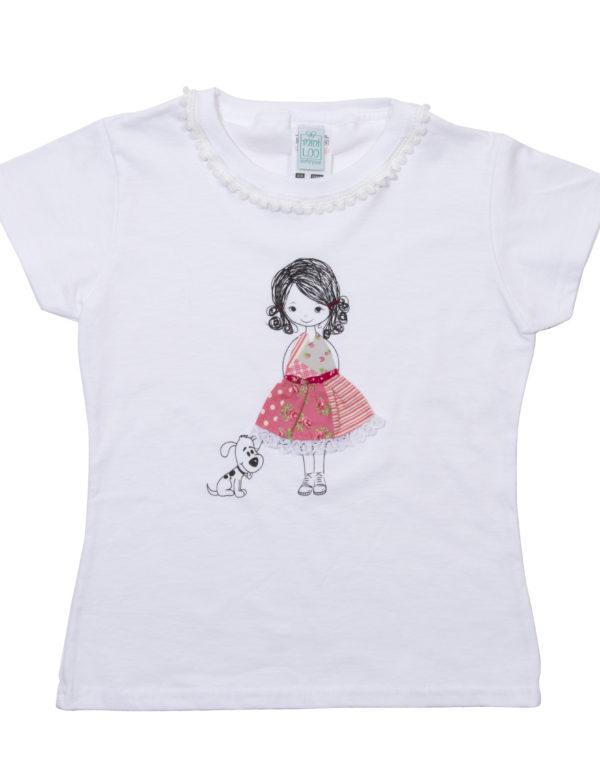 Mädchen T-Shirt Mannequin handmade - rosa Kleid