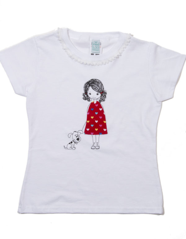 Mädchen T-Shirt Mannequin handmade - rotes Kleid